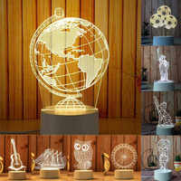 3D USB Acrylic Night Lights Desktop Baubles LED Light Lamps Table Desk Globe Bedroom Office Decor Gift Warm White Lamp Ornament