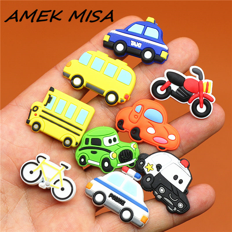 Single Sale 1pcs Shoe Charms Car/Motorcycle/Taxi/Minibus/Bike Shoe Accessories Shoe Buckle Decorations Fit Croc JIBZ Kid's X-mas