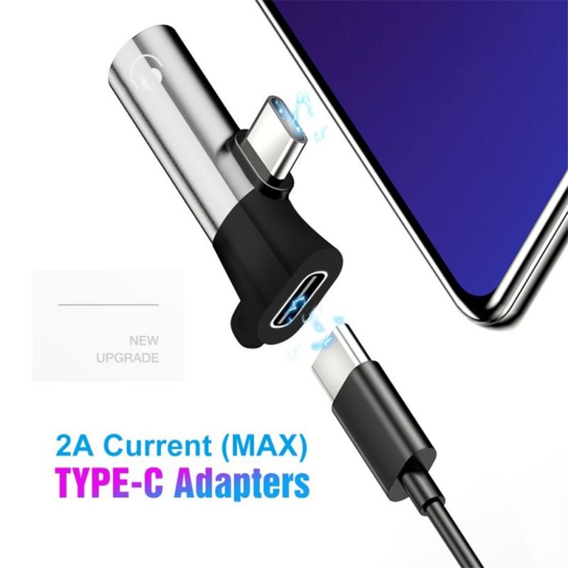 Type-C Male To 3.5mm Jack + Type-C Female Charging Adapter Audio Converter With Keychain