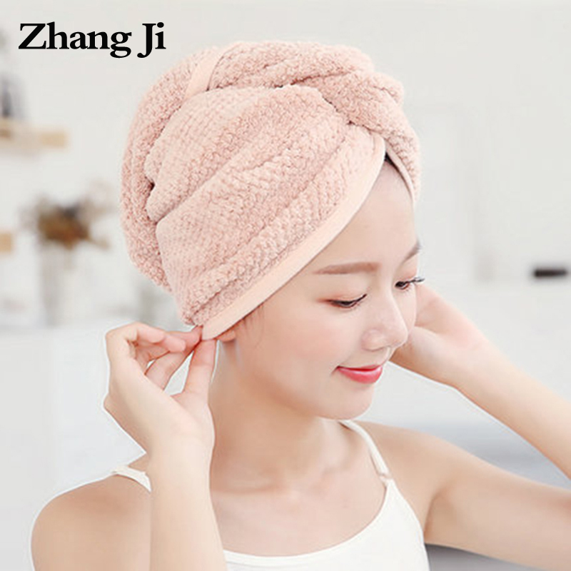 ZhangJi Твердые волосы твист сухая шапка обертка тюрбан сушка банное полотенце с пуговицами ванная Волшебная сухая шапка для волос