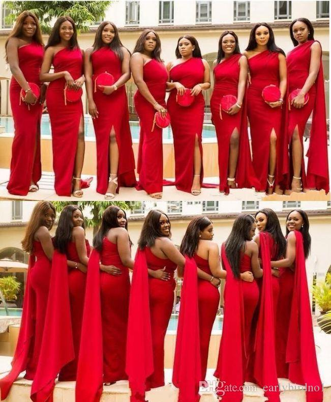 Arabic Cheap Red Mermaid Bridesmaid Dresses One Shoulder Side Split Long Wedding Guest Dress Formal Maid Of Honor Gowns
