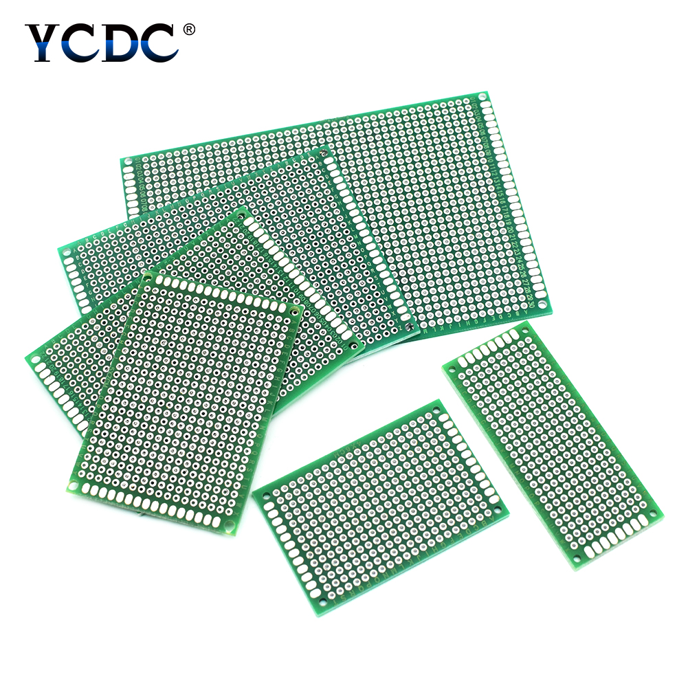 5pcs Green Double Side PCB Printed Circuit Board 2x8 3x7 4x6 5x7 6x8 7x9 8x12cm Prototype Breadboard For DIY Projects