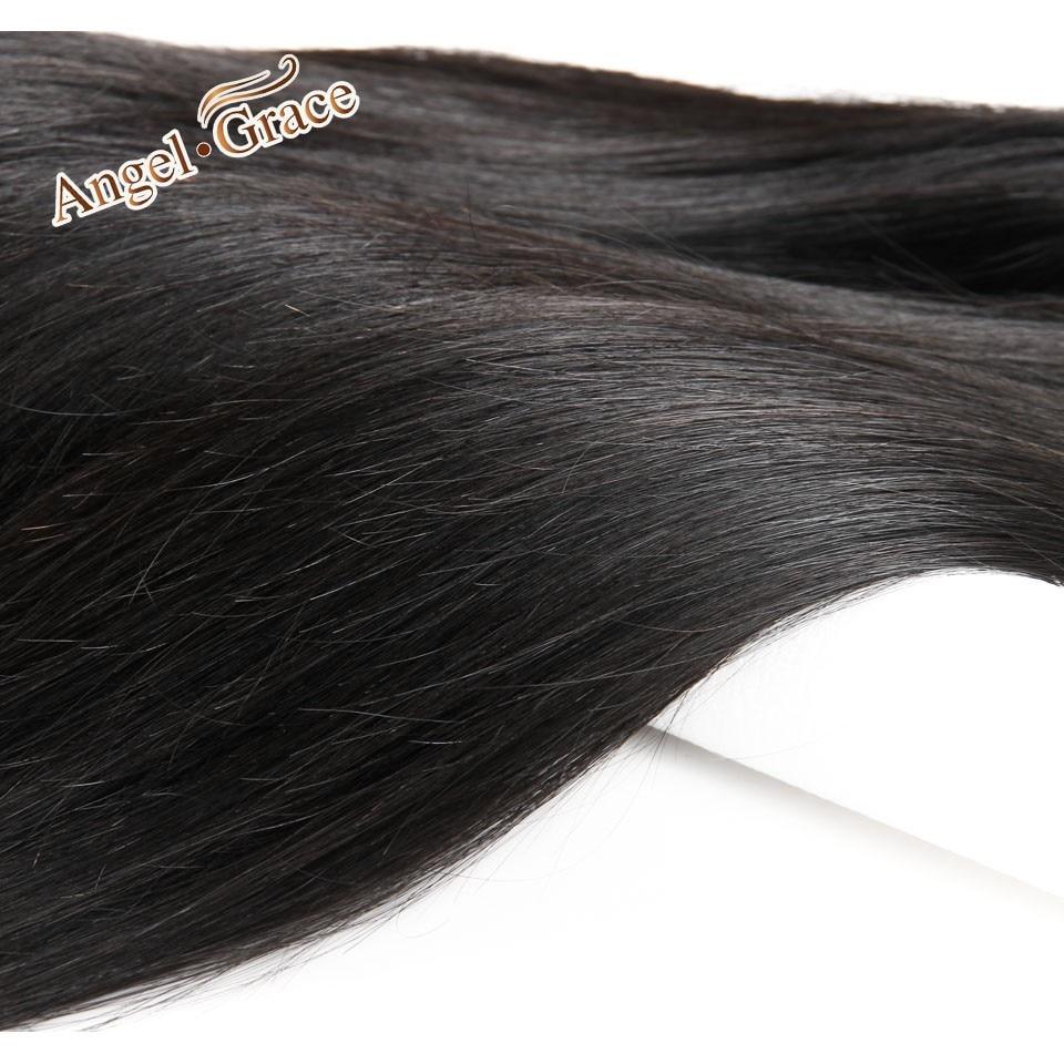 H25fd6c4a2ec64faebed6155a832336b6B Angel Grace Hair Brazilian Straight Hair Bundles With Transparent/HD Lace Closure Remy Human Hair Weave 3 Bundles With Closure