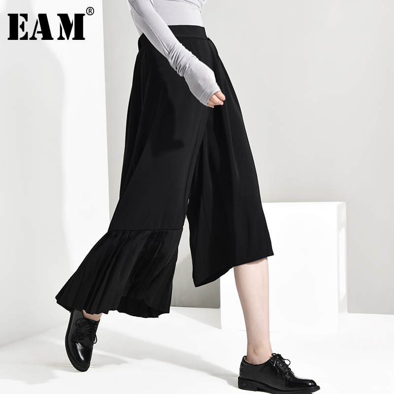 [EAM] High Elastic Waist Black Asymmetrical Pleated   Wide     Leg   Trousers New Loose Fit   Pants   Women Fashion Spring Autumn 2019 JO26