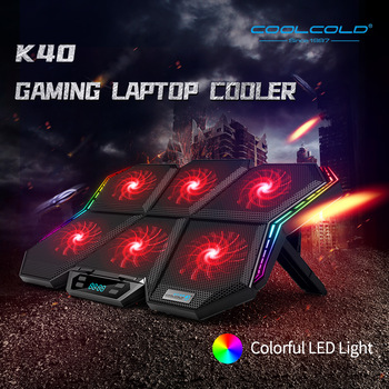 Coolcold gaming RGB laptop cooler 12-17 inch Led Screen Laptop cooling pad Notebook cooler stand with Six Fan and 2 USB Ports 1