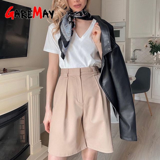 Women's Summer Shorts 2021 Long with High Waist Female Loose White Classic Knee-Length Office Wide Women's Shorts Black Candy 1