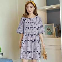 Summer Maternity Dresses Nursing Dresses High Waist Korean Face Breast Feeding Dress Clothes For Pregnant Women Pregnancy Dress(China)