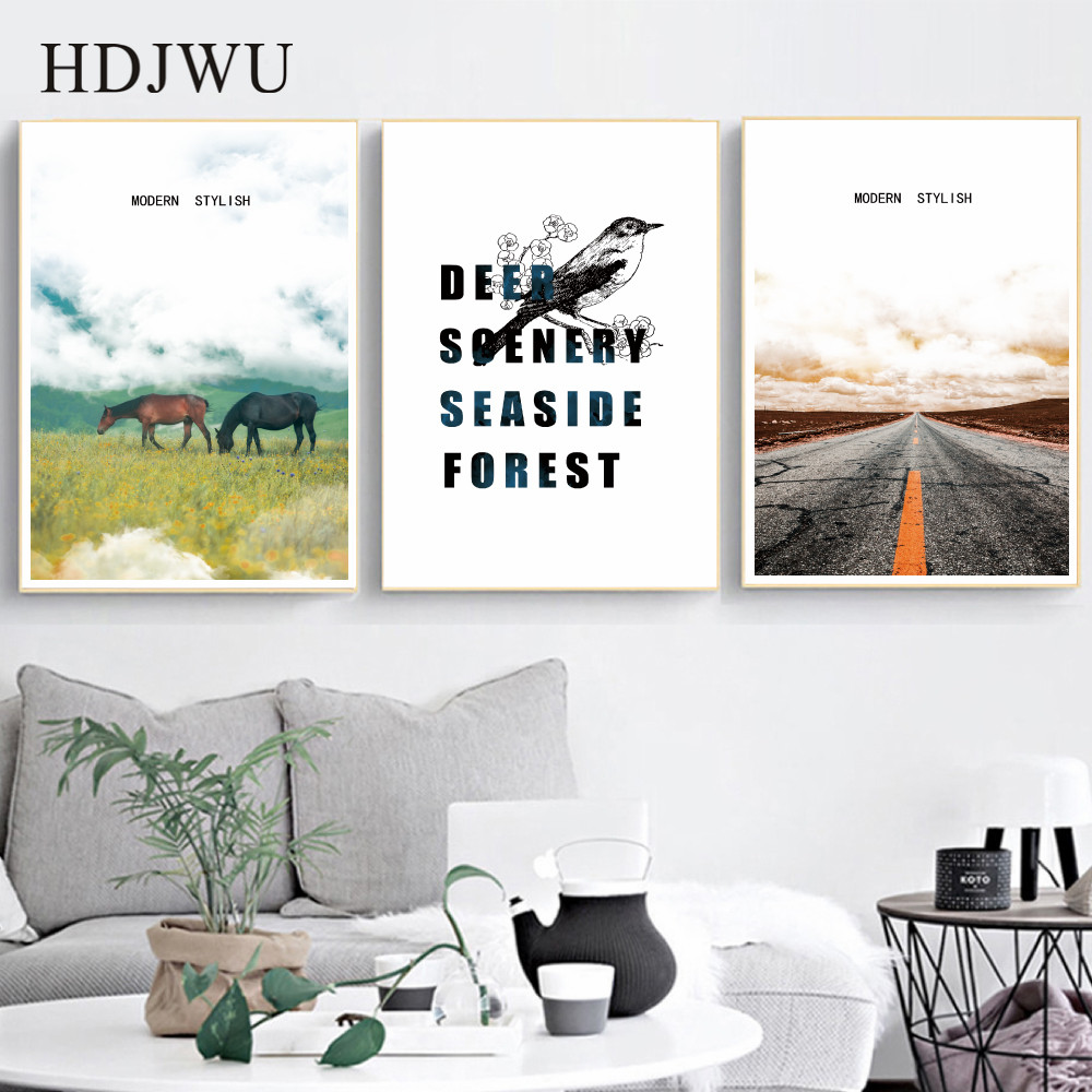 Nordic Scenery Art Canvas Painting Wall Picture Home Printing Poster for Living Room  AJ00382