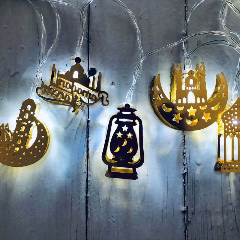 Eid Mubarak Element Handmade Wire Light String 10 LED Light Eid Ramadan Islamic Battery Supply Indoor Home Party Decor