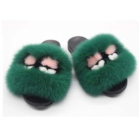 Little Monsters Fox Fur Slides Fluffy Home Slippers Confetti Furry Sandals For Women Cute Slippers Flat Sole Funny Fur Slides