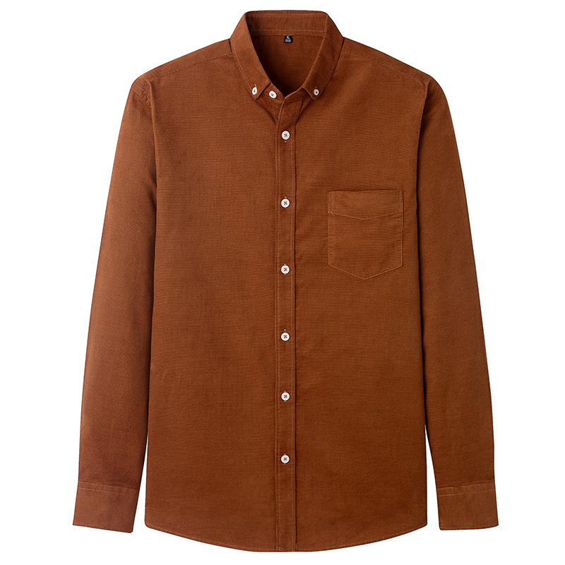 Casual Mens Corduroy Shirt Pure Cotton Long Sleeve Brown Thick Winter XXL Regular Fit New Model Male Button Down Shirts 9