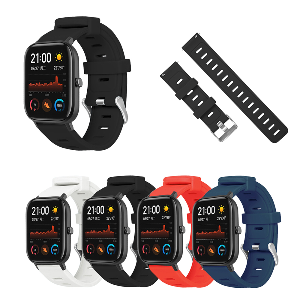 Smartwatch Wristband Replacement Accessories For Huami Amazfit GTS 20mm Strap Flat Head Monochrome Smart Watch Silicone Straps