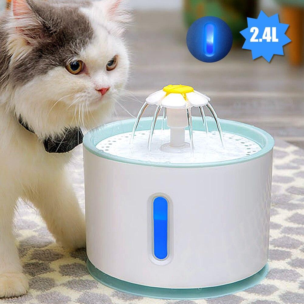 Автоматический питьевой фонтан для кошек, бесшумная электрическая LED поилка объемом 2,4 л, USB-раздатчик для воды для домашних животных