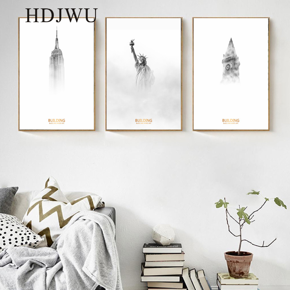 Nordic Minimalist Architectural Decoration Canvas Painting Home Wall Printing Posters for Living Room AJ00347 in Painting Calligraphy from Home Garden