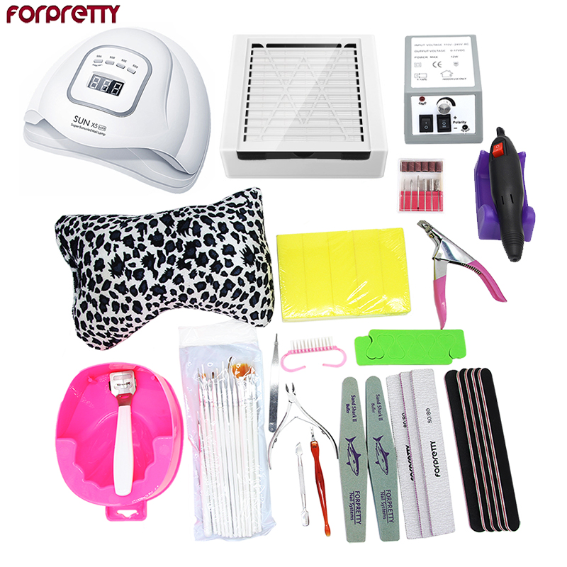 Manicure Set Acrylic Nail Kit Manucure Gel UV Complet Elektrikli Manikur Seti With Led Lamp Polish Drill Tools Accessories Unha
