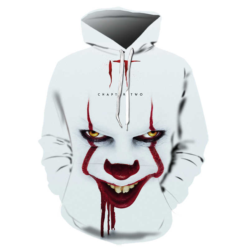 Horror Movie IT Clown 3D Printed Hoodie Solid color Men Women Freddy Jason Film Pullover Clown Hooded Sweatshirt Halloween  Tops