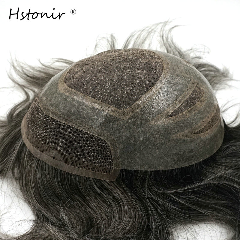 Hstonir 6pcs/lot Mens Toupee 8x10 Inch Undetectable PU And Mono Lace Indian Remy Hair Men Hair Pieces Replacement Systems H010