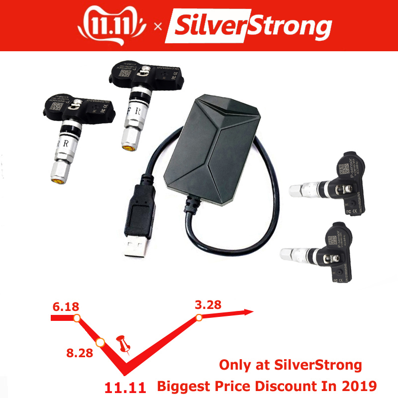TPMS for SilverStrong Android CAR DVD Car Tire Pressure Monitoring System 4 Sensors Alarm Temperature