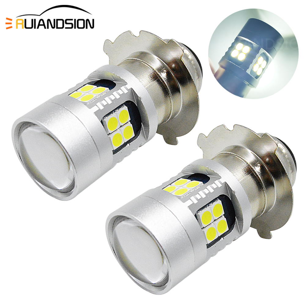 2pcs 6-24V P15D-25-3 3030 LED Motorcycle Scooter Bulb Headlamp Fog DRL Dual Light 22 SMD High/low Beam Lamp White 6V 12V image