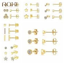 ROXI 3 pièces/ensemble cristaux géométrie boucles d'oreilles pour femmes petite étoile ronde piercing boucle d'oreille 925 bijoux en argent Sterling Oorbellen