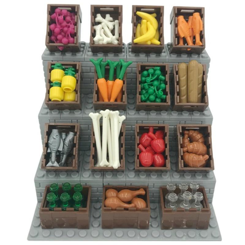 City Figure Hand-held Food Accessories Blocks Parts Tableware Fruits Bread Vegetables Dessert Fish Basket MOC Bricks Friends Toy