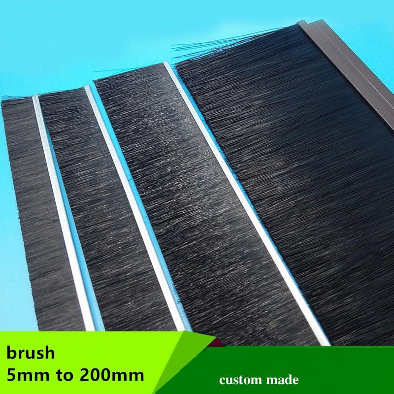Custom Brush Detachable Dismountable Door Bottom Sweep Seal 10mm 15mm 20mm 25mm 30mm 35mm 40mm 50 - 100mm For H F T Profile