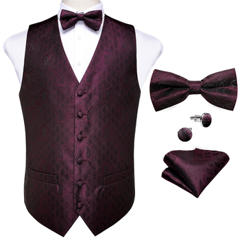 New Teal Green Paisley 100% Silk Formal Dress Vest Men Waistcoat Vest Wedding Party Vest Tie Brooch Pocket Square Set DiBanGu 35