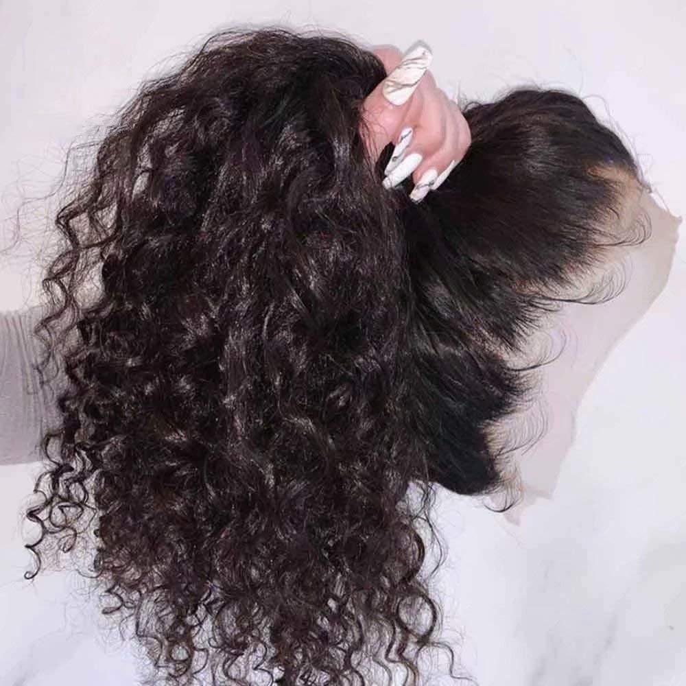 Hd Синтетические волосы на кружеве al парик 13x6 Hd Синтетические волосы на кружеве парик человеческих волос предварительно 250% водная волна про...