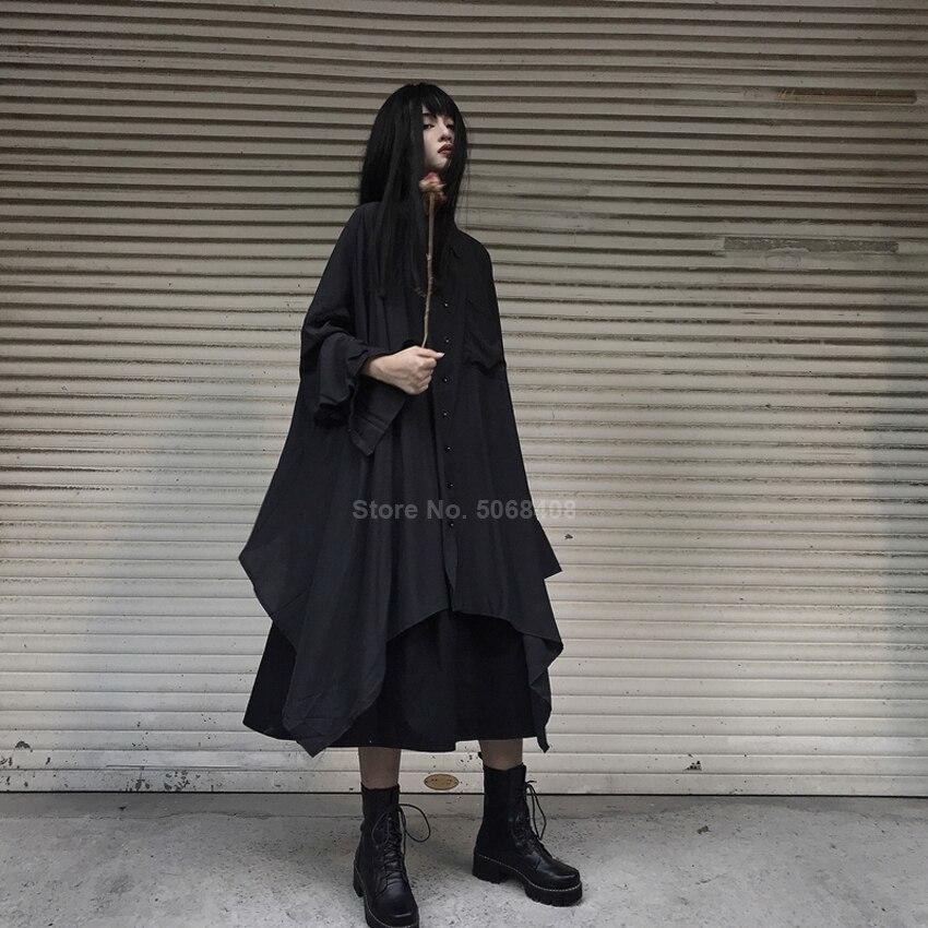 Harajuku Japanese Samurai Women Long Black Blouse Shirt Dress Asymmetrical Irregular Robe Gown Medieval Punk Gothic Clothing