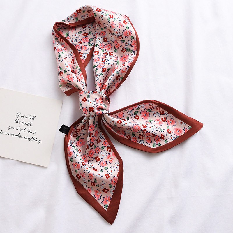 New Design Skinny   Scarf   solid striped Print Women Silk   Scarf   Small Handle Bag Ribbons Female Head   Scarves     Wrap   For Lady 90*10cm
