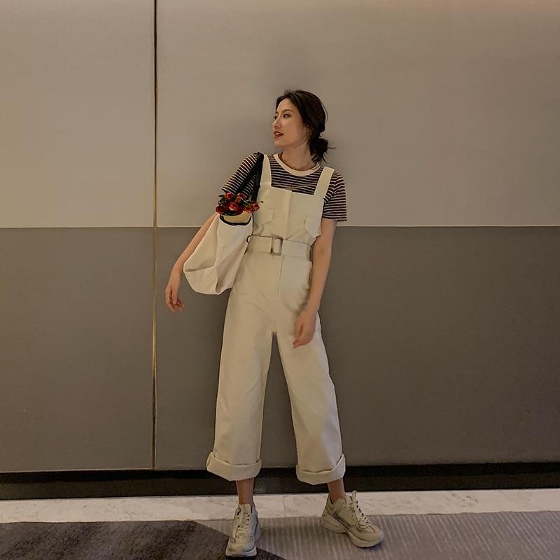 Femmes mode été combinaisons décontracté solide sans manches sangle poche taille haute lâche ceinturé jambes larges coton corps Mujer