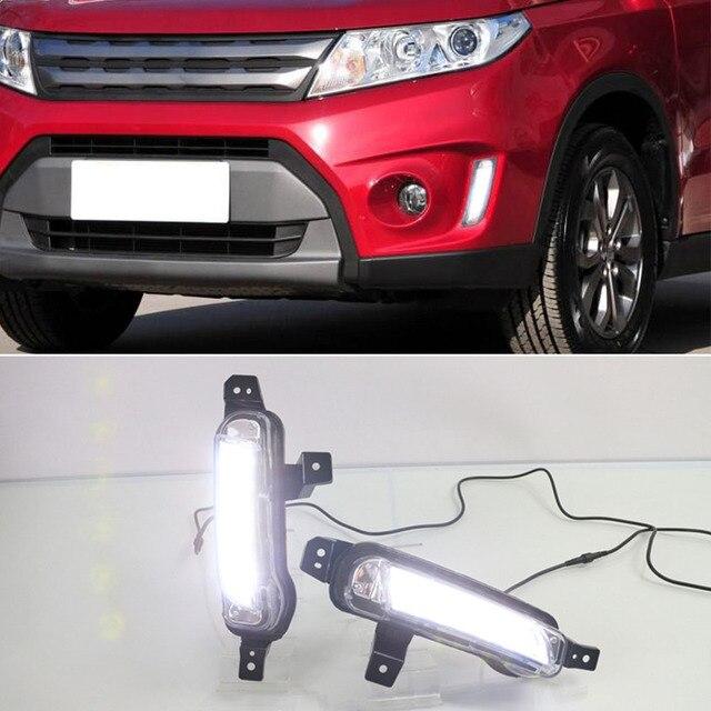 2 Chiếc Xe Ô Tô Đèn LED Chạy Ban Ngày Đèn DRL Dành Cho Xe Suzuki Vitara 2015 2016 2017 2018 2019 2020 Đèn Sương Mù Với vàng Nhan