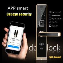 Смарт полупроводниковый замок отпечатков пальцев пароль приложение карта биометрический цифровой дверной замок, сенсорный экран с большой врезной