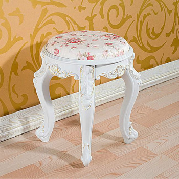 European minimalist white solid wood dressing table stool Korean pastoral dressing stool nail makeup chair bedroom sitting stool