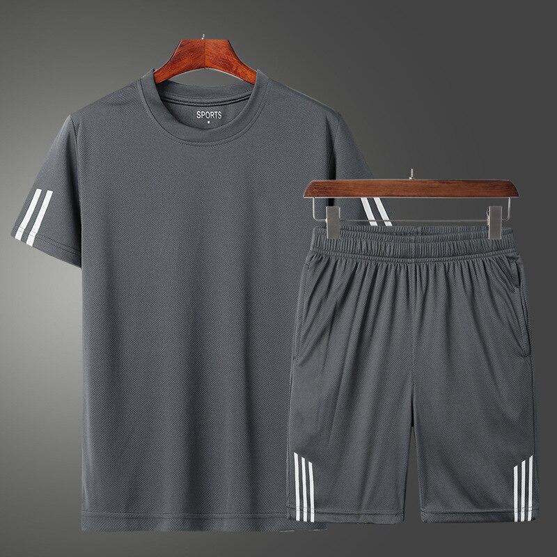 running - 2pcs Fashion Brand Set Men Clothing Summer New Tracksuit Short Sweatshirt + Shorts Sets Beach Mens Casual Shirts Sportswears