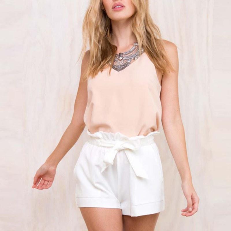 Women Casual Plus Size Shorts High Waist Loose Shorts Patchwork Bow Short Pant Female Ruffle Belt Lady