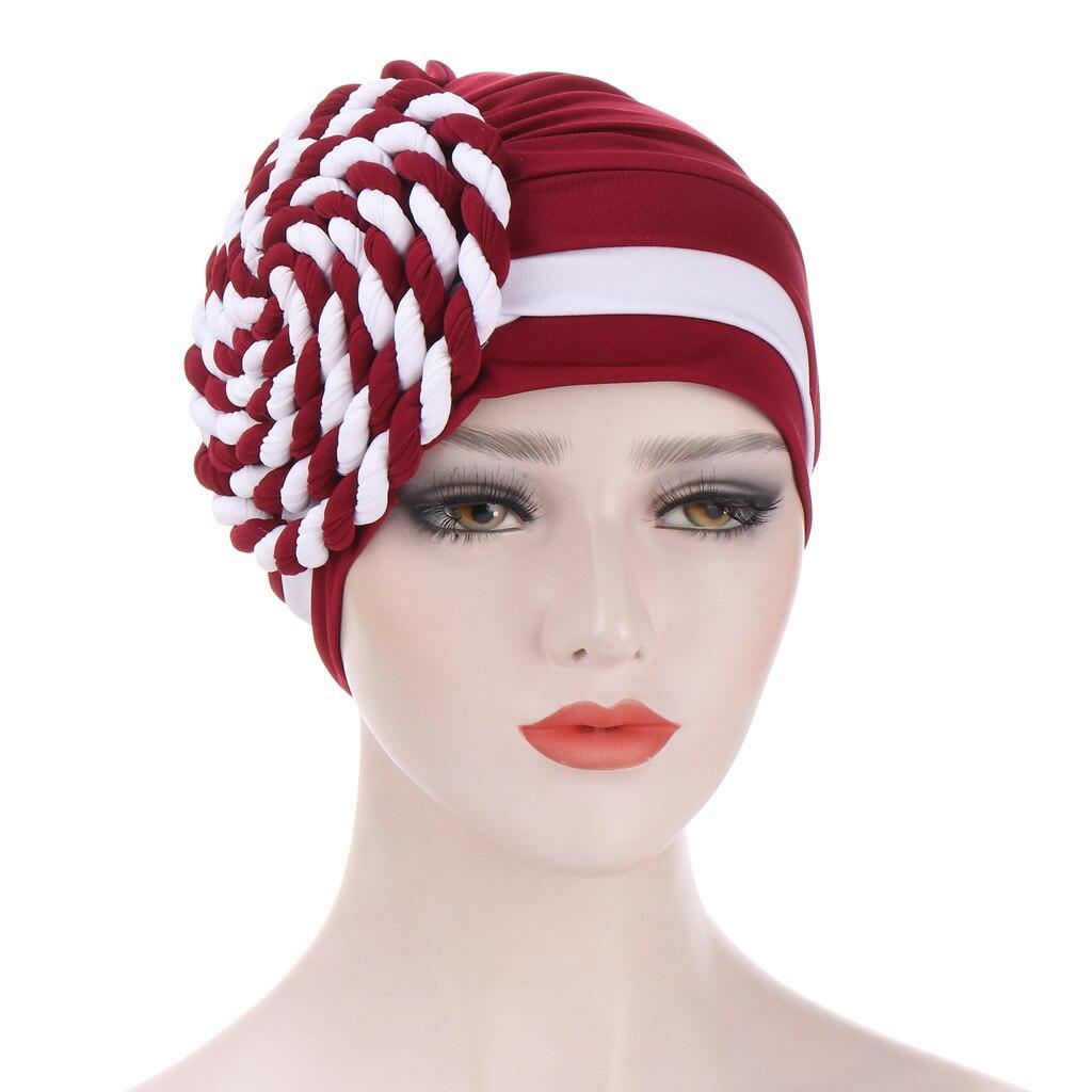 Helisopus 2021 two color na moda índia turbante trança nó muçulmano lenço cabeça elástica pronto para usar hijab chapéus acessórios|Acessórios para cabelo (mulheres)|   -