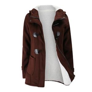 Image 4 - 2020 nowy jesień zima kobiet róg płaszcz z guzikami Slim ciepła, z wełny kurtki damskie znosić Plus size z kapturem płaszcze dla kobiet 5XL 6XL