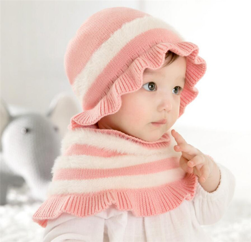 2019 Winter Warm Girls Hat And Scarf Child Stripe Knit Protection Ear Cap Kids Bow Print Wave Brim Hat Shawl Set New Accessories