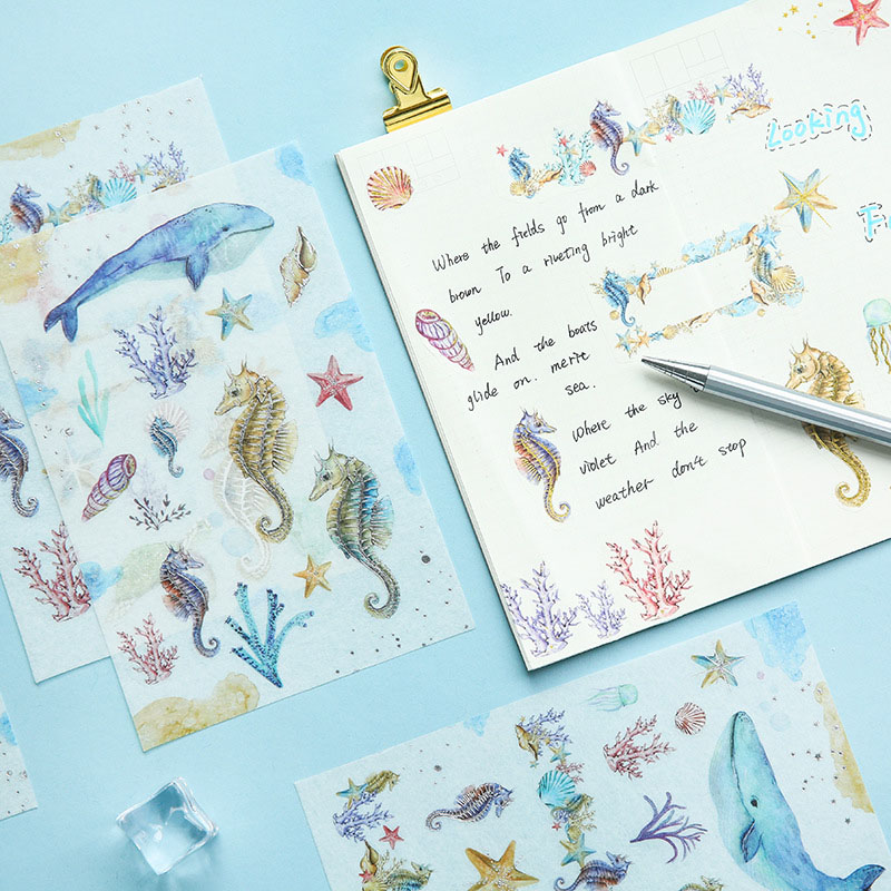 3Sheets Cute Whale Stickers Kawaii Bronzing Stationery Stickers Paper Adhesive Sticker For Kids DIY Scrapbooking Albums Supplies