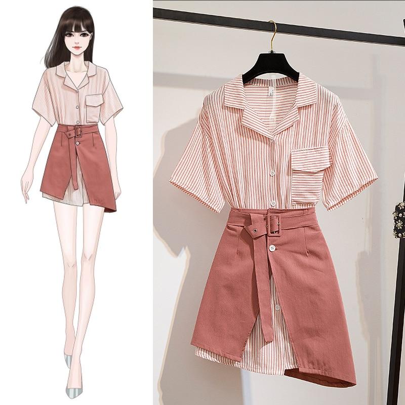 Sweet Suits Notched Striped Short Sleeve Long Blouse Shirt Belt Irregular Skirt Two Piece Women's Suit Dress