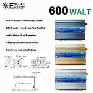 GWV 600W MPPT микро сетевой Инвертор 30V 36V Панель 72 ячеек чистая Синусоидальная волна 110V 220V выход на сетку галстук инвертор 22-60V DC