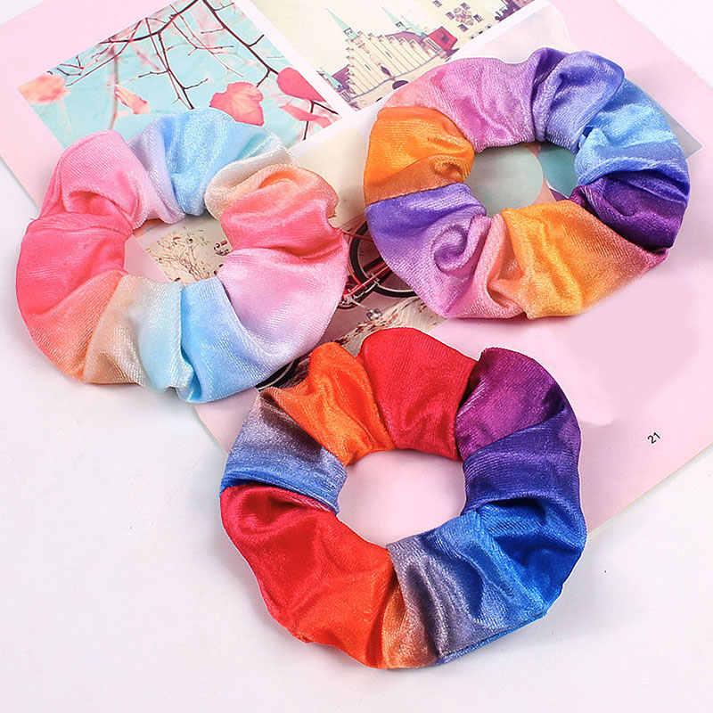 1 adet kadife Scrunchie kadın kızlar elastik saç bantları gökkuşağı yumuşak lastik toka kafa bandı yuvarlak saç lastiği kızlar saç aksesuarları
