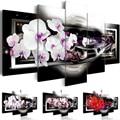 5 pçs casa decoracion pintura a óleo da parede da lona flor fotos para sala de estar abstrata moderno orquídeas pinturas (sem moldura)