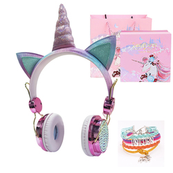 Funny Kids Headset Colorful Diamond Unicorn Headphones Music Stereo Wired Earphones With Gifts Box Christmas Brithday Gifts