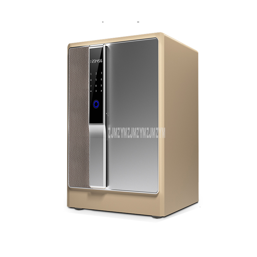 Electronic Lock Intelligent Fingerprint Password Safe Cabinet Alloy Steel Frame PU Leather Anti-theft Bedside Safe Deposit Box