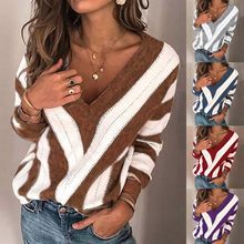 Knitted Sweater Women Casual Warm Daily Loose V Neck Stripe Knitting Jumper Tops Blouse Sweater Female Soft Bottom Jumper new(China)