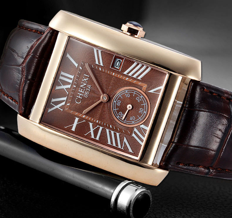 Luxury Brand CHENXI Square Men Watches Unique Design Rose Gold Calendar Stop Watch Genuine Leather Quartz Business Watch for Man