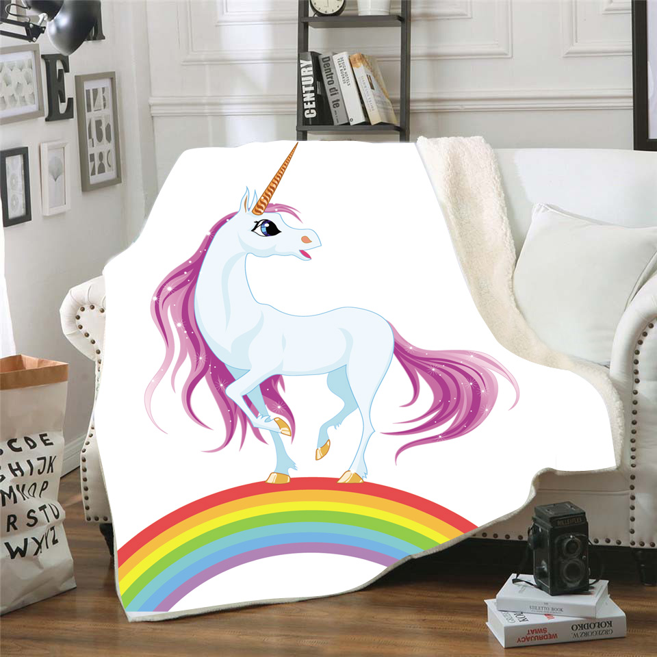 Unicorn Printed Nap Blanket Soft Comfortable Velvet Plush Blanket For Couch Bed Travel Warm Cover Blanket Bedding Outlet