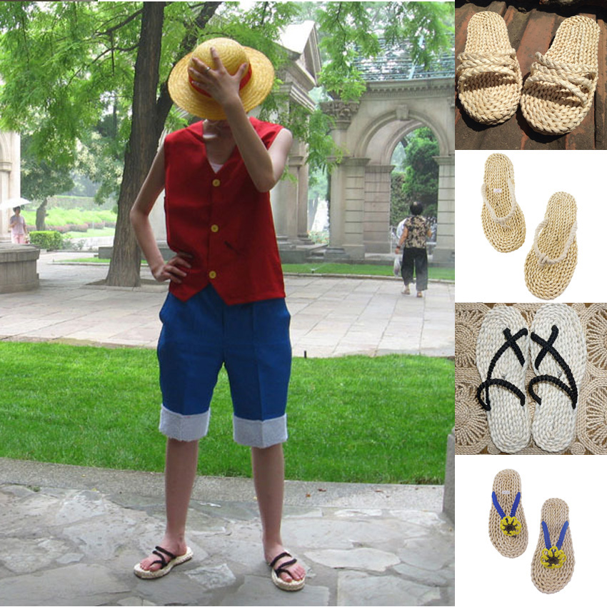 Hand Made Oriental Japanese Chinese Straw Sandals Cosplay Costumes One Piece Luffy Man Massage Traditional Slippers Flip Flops
